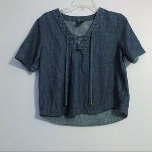Forever 21 Chambray Denim Lace Up Top